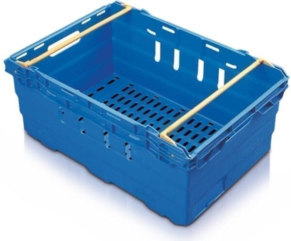 Maxi Nest Perforated Containers  - Perforated Tray with Bale Arms - 600L x 400W x 253Hmm - Blue - 44 Litres