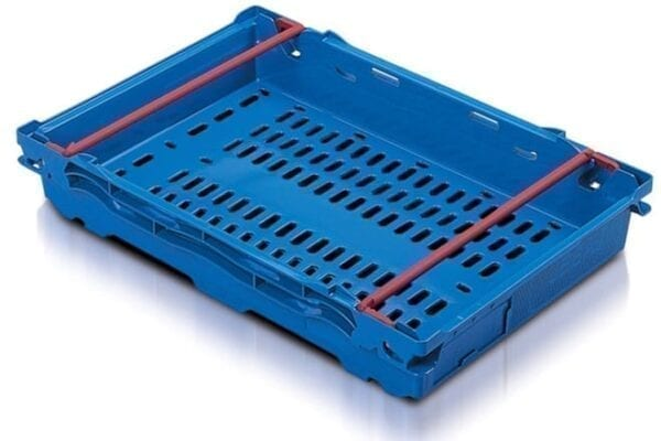 Maxi Nest Perforated Containers  - Perforated Tray with Bale Arms - 600L x 400W x 106Hmm - Blue - 16 Litres