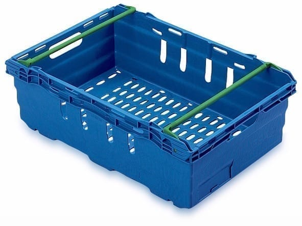Maxi Nest Perforated Containers  - Perforated Tray with Bale Arms - 600L x 400W x 199Hmm - Blue - 35 Litres