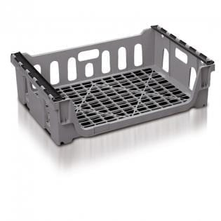 Maxi Nest Perforated Containers  - Bread Baskets with Bale Arms - 762L x 508W x 216Hmm - Grey - 65 Litres