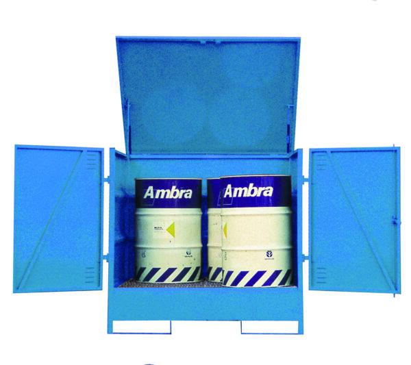 Fully Enclosed Drum Storage - Vertical - 4 Drum
