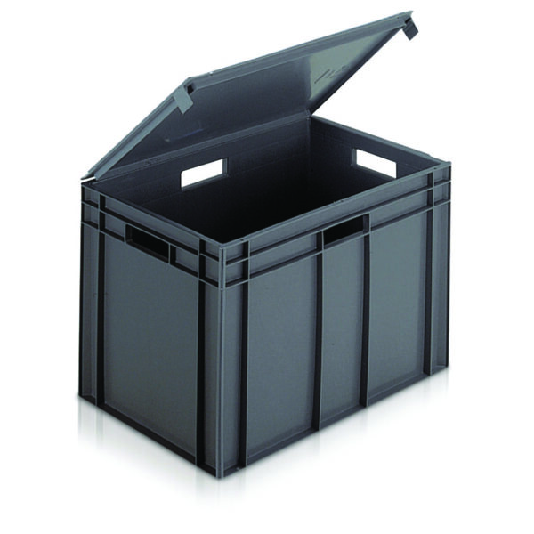 Euro Containers with Integral Lids - 600L x 400W x394Hmm - 75 Litres
