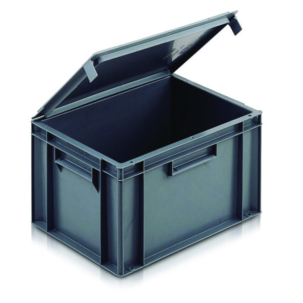 Euro Containers with Integral Lids - 400L x 300W x 330Hmm - 30 Litres
