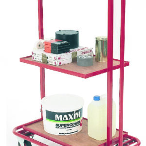 3 Tier trolley with fixed tiers & drop in plywood shelves