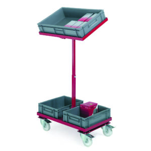 2 Tier trolley with upper tier able to tilt. To fit 3 x drop in containers