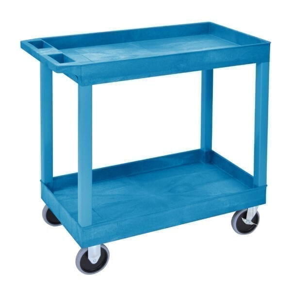 Plastic Multi Purpose Trolley Service Trolley - 2 Storage Trays (Blue)