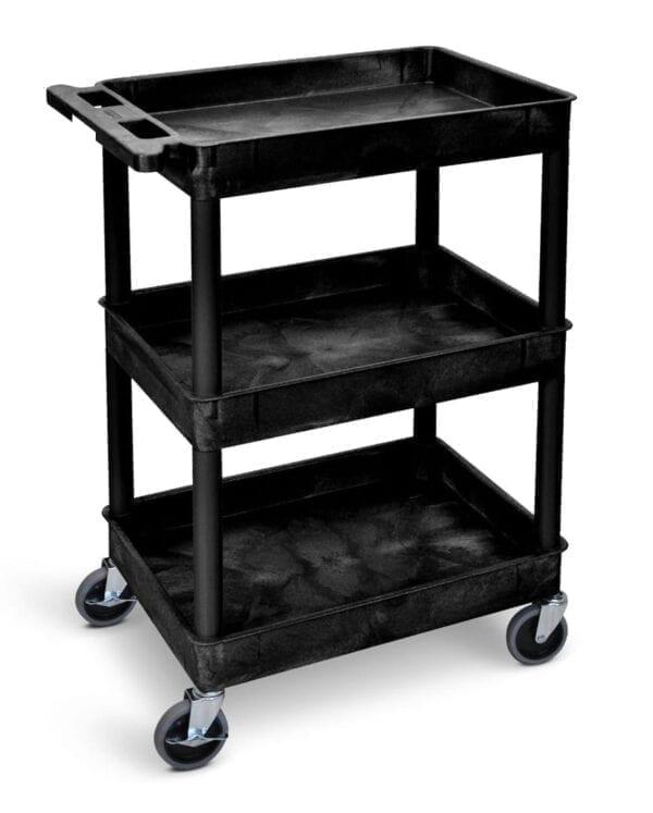 Super Strength Plastic Multi Purpose Trolleys - Deep 3 Shelf Trolley - Black