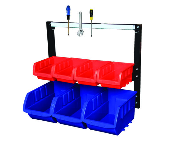 Storage Bin Rack complete with 7 Bins With Magnetic Strip