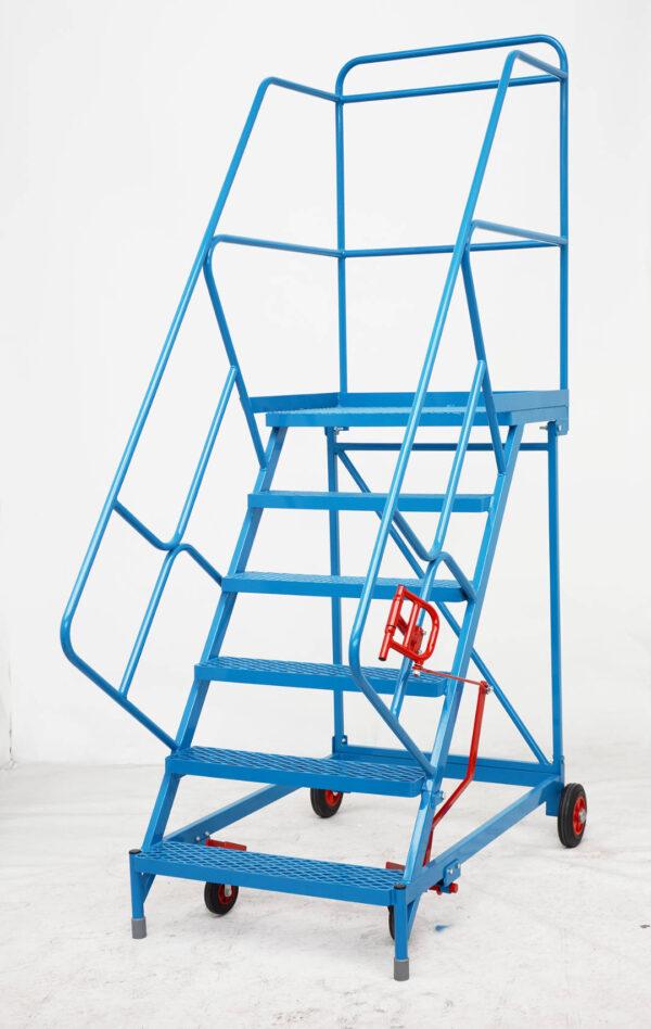 Fort® Wide Tread Blue 'Trojan' Mobile Step -  6 Step - Mesh - Easy Slope