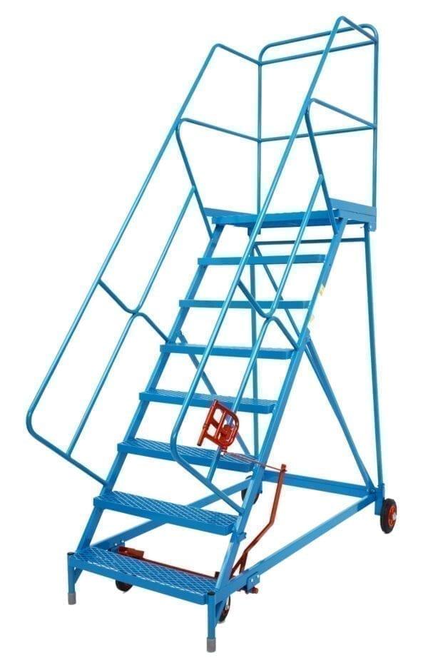 Fort® Wide Tread Blue 'Trojan' Mobile Step -  8 Step - Mesh - Easy Slope