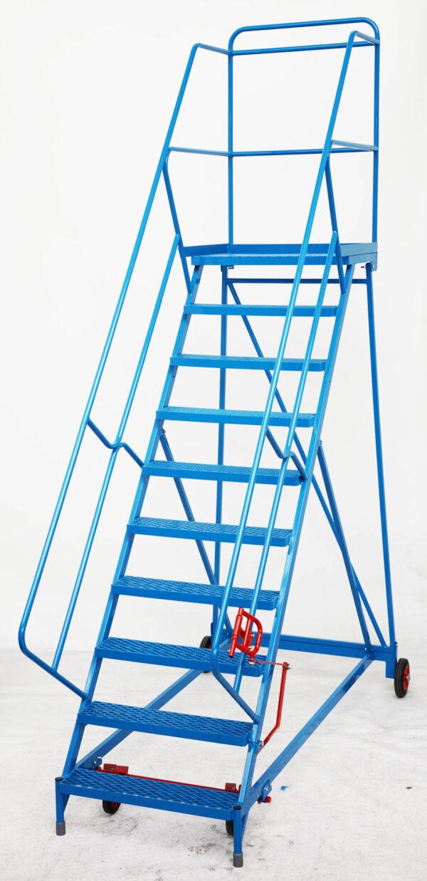 Fort® Wide Tread Blue 'Trojan' Mobile Step -  10 Step - Mesh - Easy Slope