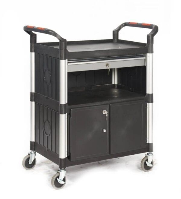 Proplaz®' Shelf Trolley - With A Drawer & Cupboard