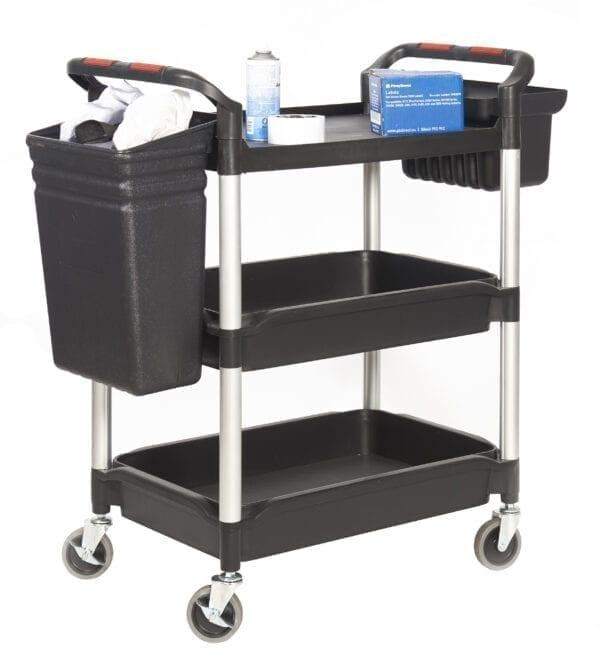 Proplaz®' Shelf Trolley with Deep Trays - 3 Shelf Complete with Buckets