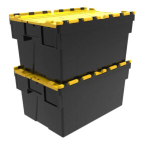 Coloured Attached Lid Containers - 600L x 400W x 365H - 65 Litres - Black with Yellow