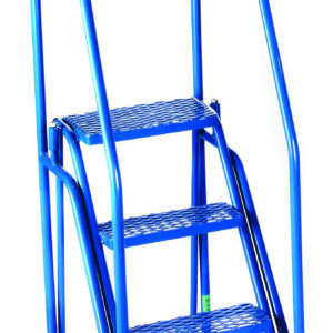 Fort® 'Duplex' Weight Reactive Mobile Steps -  4 Step - Blue/Blue - Expanded Steel Treads