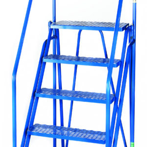 Fort® 'Duplex' Weight Reactive Mobile Steps -  6 Step - Blue/Blue - Expanded Steel Treads