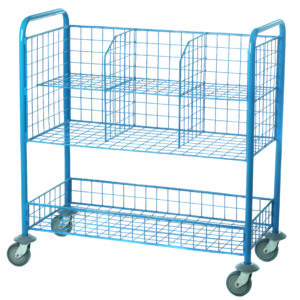 Post Room Trolley with 6 mesh compartments & a storage tray