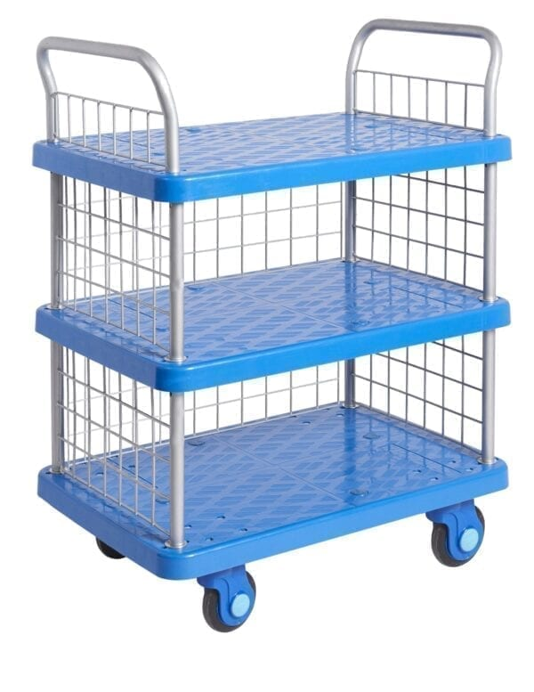 Proplaz® Super Silent Three Tier Trolley With Mesh Ends & Side