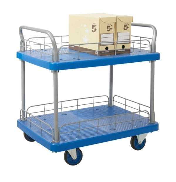 Proplaz® Blue' Platform Trolley - Two Tier Trolley With Wire Surrond
