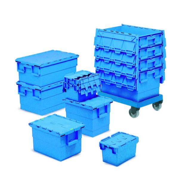 Premium Attached Lid Containers - 600L x 400W x 4000Hmm - 73 Litres