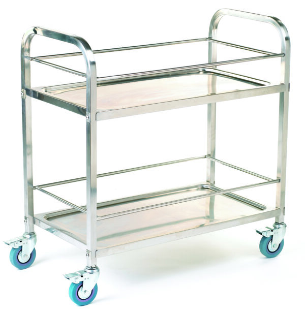 Stainless Steel Shelf Trolley - 2 Shelf with Rod Surround