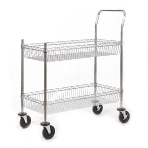 Chrome Plated Wire Tray Trolley - 2 Shelf