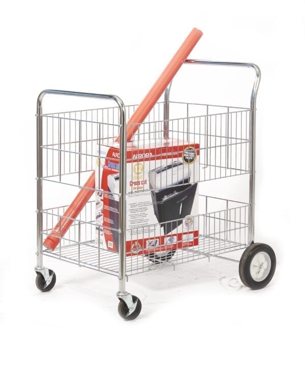 Chrome Plated Wire Tray Trolley - Large 200mm Rear Wheels