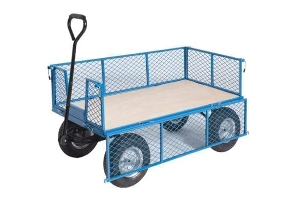 Platform Truck With Puncture Proof Reach Compliant Wheels - Mesh Sides